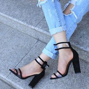 ultrachicfashion.com Shoes - PRE-ORDER - Black Clear Strap Heel